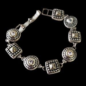 Brighton HEIRESS Crystal Silver Gold Bracelet